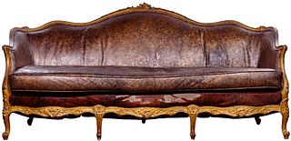 Victorian Style Cowhide and Leather Gilt Sofa