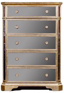 Z Gallerie Hollywood Regency Style Mirrored Chest of Drawers