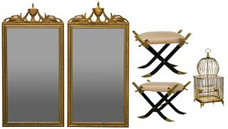 Sabre-Form Footstools, Birdcage and Mirrors