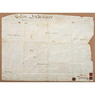 """MORRIS, Robert (1734-1806). Land indenture signed (""""Robt. Morris""""). Philadelphia, 10 July 1795."""