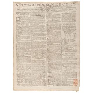 [MUTINY ON THE BOUNTY]. Mutiny of the HMS Bounty covered in 2 issues of the Northampton Mercury. Vol. LXXI. Northampton: T. Dicey & Co., 30 October 17