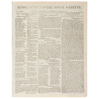 [BATTLE OF TRAFALGAR].  Supplement to the Royal Gazette and the Jamaica Courant.  Vol. XXVIII, No. 13.  Kingston: 29 March 1806.