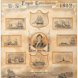 [WAR OF 1812] PEIRCE, A.B., artist. Commemorative presentation display of illustrations featuring the USS Constitution and its commander, Captain Isaa