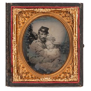 [CIVIL WAR]. Sixth plate ruby ambrotype of Civil War soldier affectionately posed with his child. N.p.: n.p., [1860s].