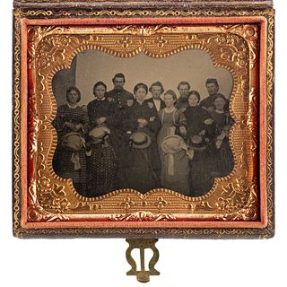 [CIVIL WAR]. Sixth plate tintype of Ohio Hawkins Family and soldiers.
