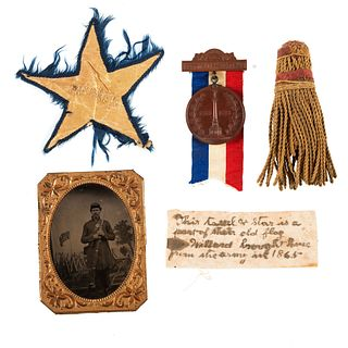 [CIVIL WAR]. A group of 12 items belonging to Corporal Willard Norton, 122nd New York Infantry, incl. quarter plate tintype, star and tassel from Civi