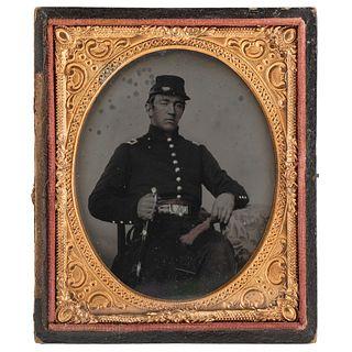 [CIVIL WAR]. Sixth plate ruby ambrotype of 2nd Lieutenant Willam Dawson Sullivan, Co. I, 147th New York Infantry, POW Gettysburg. N.p.: n.p., [ca 1864