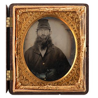[CIVIL WAR]. Sixth plate tintype of bearded Union private with pistol. N.p.: n.p., [ca 1860s].