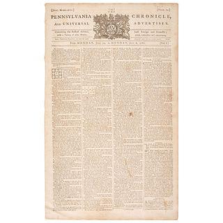 [FRANKLIN, Benjamin (1706-1790)]. The Pennsylvania Chronicle, and Universal Advertiser. Vol. I, No. 24.  Philadelphia: William Goddard, 29 June 1767 -