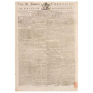 [REVOLUTIONARY WAR - BATTLES OF TRENTON & PRINCETON]. The St. James's Chronicle: British Evening-Post. No. 2492. London: H. Baldwin, 27 February 1777-