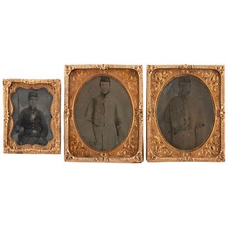 [CIVIL WAR]. A group of 4 tintypes, incl. 3 portraits of Union privates tentatively identified as the Coppock brothers. N.p.: n.p., [ca 1860s].
