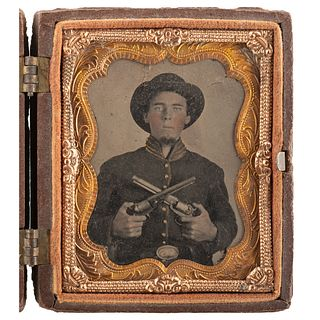 [CIVIL WAR]. Ninth plate tintype of Private Martin Leopold, Co. K, 22nd Kentucky Infantry, displaying pair of Model 1851 Navy Colt revolvers. N.p.: n.