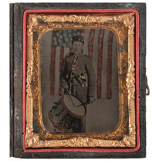 [CIVIL WAR]. Ninth plate ruby ambrotype of Union infantry drummer. N.p.: n.p., [1860s].