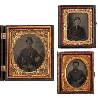 [CIVIL WAR]. A group of 3 tintypes of Union soldiers, incl. ninth plate portrait of private with eye injury.