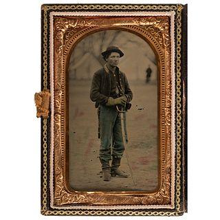 [CIVIL WAR]. CDV-sized tintype outdoor portrait of cavalryman, identified to Ira V. Casey of 1st Illinois Cavalry. N.p. n.d.