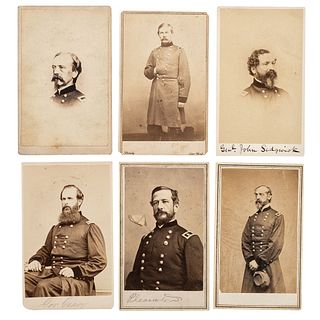 [CIVIL WAR]. A group of 6 CDVs of Union generals who fought at Gettysburg, comprising: