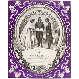 [AFRICAN AMERICANA] -- [CIVIL RIGHTS]. Marriage Certificate. Chicago: P.P. and F. Co., 1910.