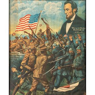 [AFRICAN AMERICANA] -- [WORLD WAR I]. A group of 3 chromolithographs depicting African American troops and political figures. Chicago: E.G. Renesch an