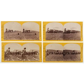 """[UNION PACIFIC RAILROAD]. CARBUTT, John (1832-1905), photographer. Exceptional collection of 27 stereoviews from the series, """"Excursion to the 100th M"""