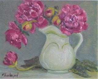 """""""Peonies in White Pitcher"""" by Marylyn Vanderpool, Monroe, NY"""