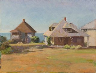 """""""The Yellow Cottage, Gloucester"""" by Donna L.R. Kerbel, Forest Hills, New York"""