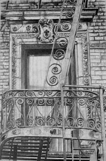 """""""City Patterns, Fire Escape"""" by Andrea Placer, Fort Lee, NJ"""