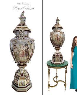 19th C. Monumental Royal Vienna Figural Lidded Vase