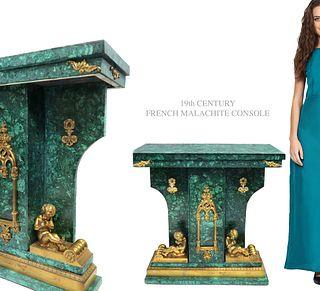 19th C. French Figural Bronze Malachite Console