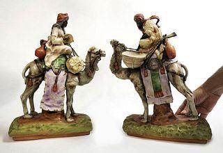 Pair Of Austrian Amphora Orientalist Porcelain Figurine