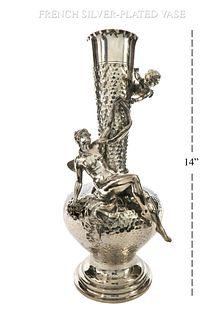 Art Nouveau French Silver- Plated Figural Vase, Signed