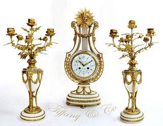 Tiffany & Co. Bronze & Marble Clock Set