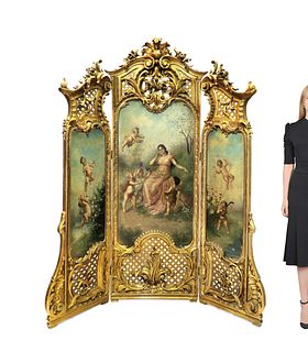 19TH C. FRENCH GILTWOOD AND PAINTED THREE-PANEL SCREEN