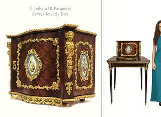 19th C Napoleon III Sevres Parquetry Bronze Jewelry Box