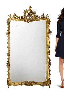 A Large 19th C. French Gilt Gesso Mirror