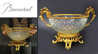 Large 19th C French Bronze/Baccarat Crystal Centerpiece