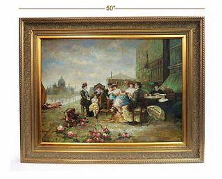 Henri Gervex (1852-1929) Large Oil on Canvas Painting