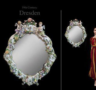 19th C. German Dresden Figural Porcelain Wall Mirror
