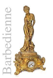 A LARGE FERDINAND BARBEDIENNE BRONZE CLOCK, 19TH C.