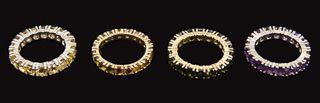 Four 14K Gold Eternity Gemstone Rings