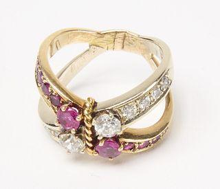 14K Ladies Rubies and Diamond 'Crisscross' Ring