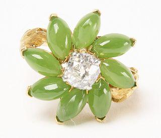 18k Jadeite and Diamond Floral Ring