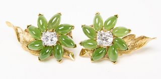 Pair of 14K Jadeite and Diamond Floral Earrings