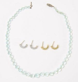 Aquamarine bead Necklace and Two Set of Earrings