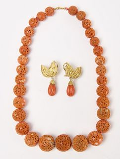 Graduated Salmon Coral Beaded Necklace & Earrings