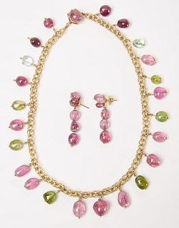 14K Tourmaline drop Necklace and Earring Set