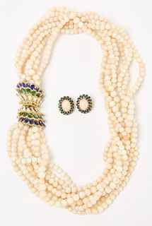 14K Angelskin Coral Necklace and Earring set