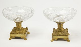 Pair Crystal & Bronze Compotes