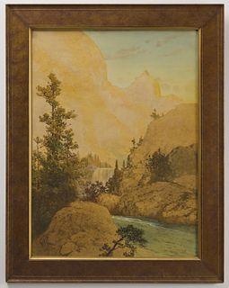 Geo Newman - Western Scene Watercolor on Paper
