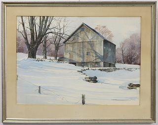 Wayne Davis Barn Watercolor