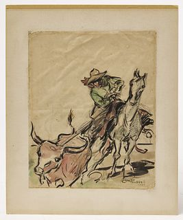 Western Watercolor Signed CM Russell 1907